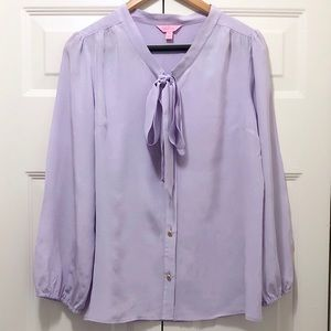 Lilly Pulitzer Lilac Long Sleeve 100% Silk Blouse